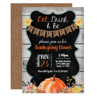Thanksgiving Dinner Invitation Burlap Chalkboard