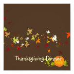 Thanksgiving Dinner, maple leaves/DIY background 13 Cm X 13 Cm Square Invitation Card