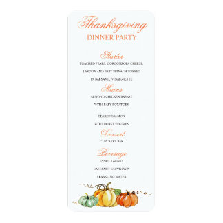 Thanksgiving Dinner menu pumpkins card