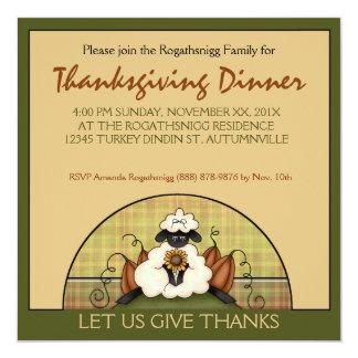 Thanksgiving Dinner Party Autumn Pumpkins Sheep 13 Cm X 13 Cm Square Invitation Card