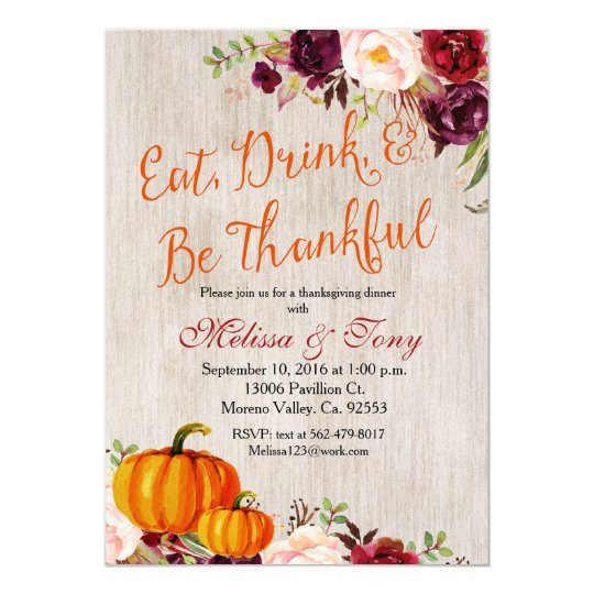 Thanksgiving Dinner Rustic Fall Pumpkin Invite