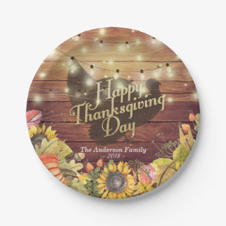 Thanksgiving Dinner Turkey Autumn Leaves Pumpkins Paper Plate