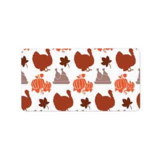 Thanksgiving Dinner Turkey Pumpkin Fall Harvest Address Label