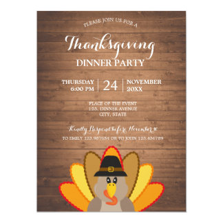 Thanksgiving Dinner Turkey wood Invitation Card