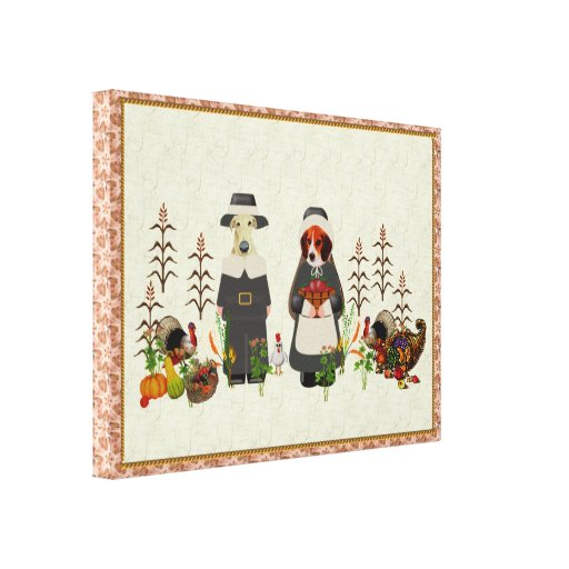 Thanksgiving Dogs Gallery Wrapped Canvas