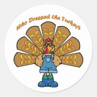Thanksgiving Dressed Turkey Round Sticker
