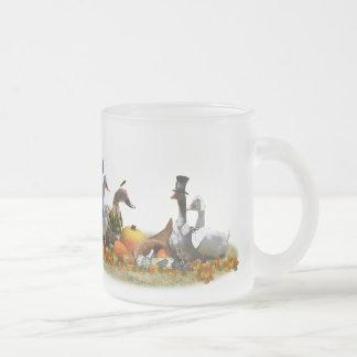 Thanksgiving Ducks - Pilgrims & Indians Frosted Glass Mug
