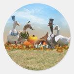 Thanksgiving Ducks Round Sticker