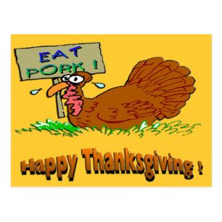 Thanksgiving Eat Pork Postcard