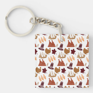 Thanksgiving Fall Autumn Harvest Pattern Double-Sided Square Acrylic Key Ring