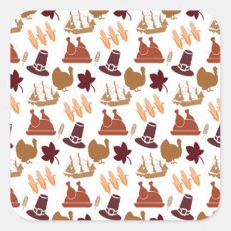 Thanksgiving Fall Autumn Harvest Pattern Square Sticker