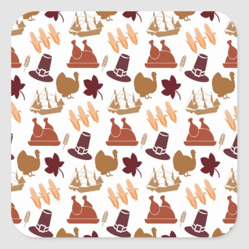 Thanksgiving Fall Autumn Harvest Pattern Square Sticker