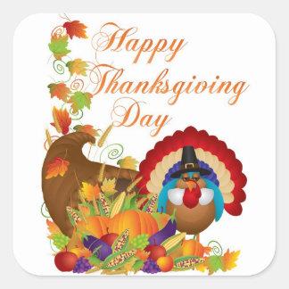 Thanksgiving Fall Harvest Cornucopia and Turkey Square Sticker