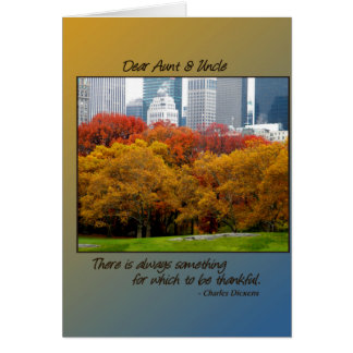 Thanksgiving Fall in Central Park for Aunt Uncle Greeting Card