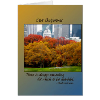 Thanksgiving Fall in Central Park for Godparents Greeting Card