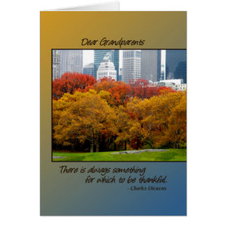 Thanksgiving Fall in Central Park for Grandparents Greeting Card