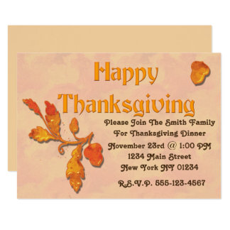Thanksgiving Fall Leaves Acorn Card