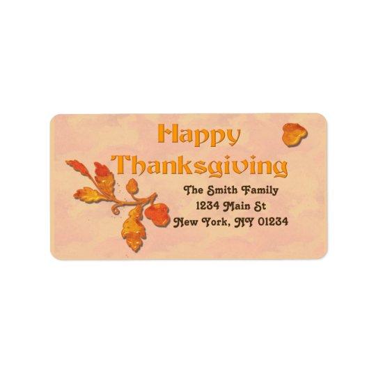 Thanksgiving Fall Leaves Acorn Label