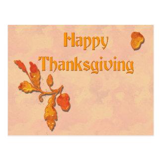 Thanksgiving Fall Leaves Acorn Postcard