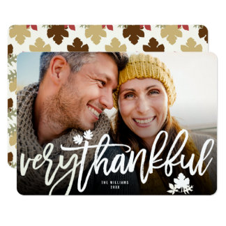 Thanksgiving Fall Leaves Brushed Script Photo Card