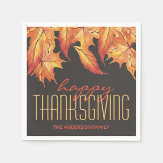 THANKSGIVING FALL LEAVES ELEGANT PERSONALIZED PAPER SERVIETTES
