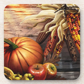 Thanksgiving Fall Pumpking Leaves Drink Coaster