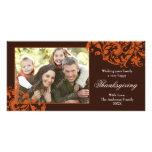 Thanksgiving Flourish Swirls Orange and Brown Personalized Photo Card