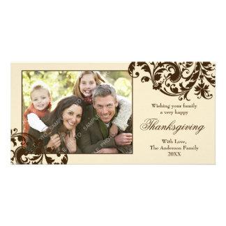 Thanksgiving Flourish Swirls Tan and Brown Card