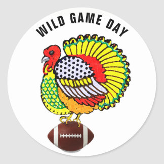 Thanksgiving football game classic round sticker