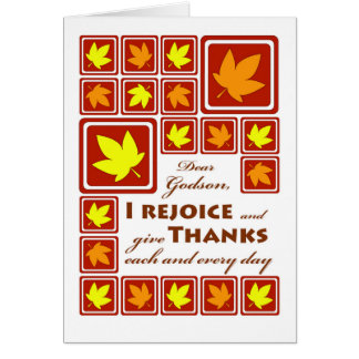 Thanksgiving for Godson, Autumn Leaf Tiles Card