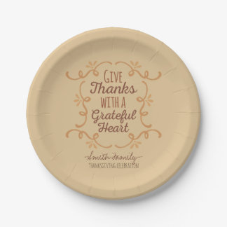 Thanksgiving. Give Thanks with a Grateful Heart. Paper Plate