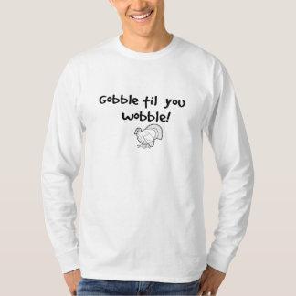 thanksgiving 'gobble til you wobble' funny humor tshirts