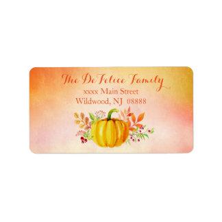 "Thanksgiving ""Grateful"" Watercolors Address Label"