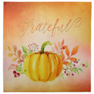 "Thanksgiving ""Grateful"" Watercolors Napkin"