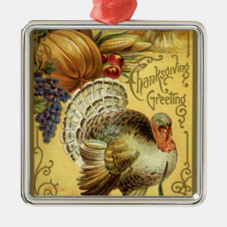 Thanksgiving Greeting with a Turkey Silver-Colored Square Decoration