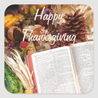 Thanksgiving Harvest and Bible Square Sticker