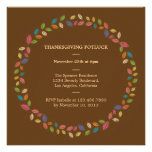 Thanksgiving Harvest Leaves Potluck Party Personalized Invitations