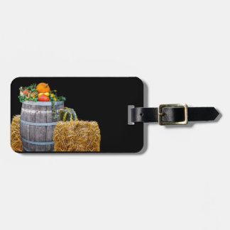 Thanksgiving Harvest Scene with Barrel and Produce Luggage Tag