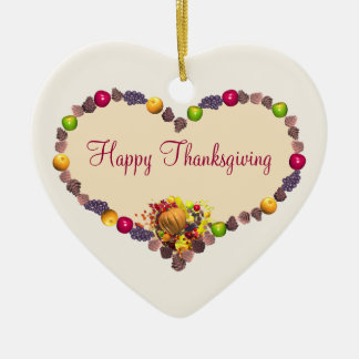Thanksgiving Heart Christmas Ornament