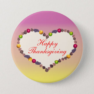Thanksgiving Heart - Pink and Yellow 7.5 Cm Round Badge