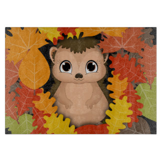 Thanksgiving Hedgehog Glass Chopping Board