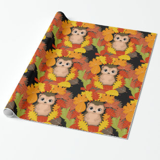 Thanksgiving Hedgehog Wrapping Paper, 30 in x 6 ft Wrapping Paper
