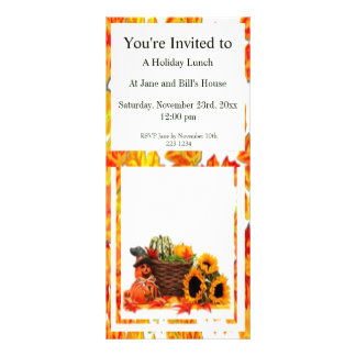 Thanksgiving Holiday, Pumpkin, Squash, Sunflowers Personalized Rack Card