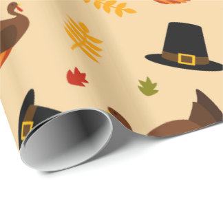 Thanksgiving Holiday Turkey pattern party wrap Wrapping Paper