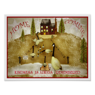 Thanksgiving Home coming Farm house geese folk Art Poster