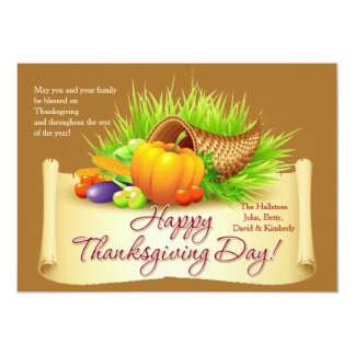 Thanksgiving Horn of Plenty Card 13 Cm X 18 Cm Invitation Card