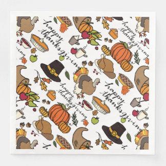Thanksgiving Icons, Holiday Napkins Paper Napkins