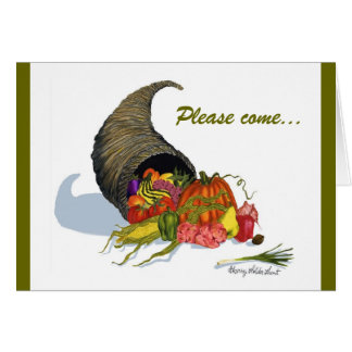 Thanksgiving Invitation with Horn of Plenty Greeting Card