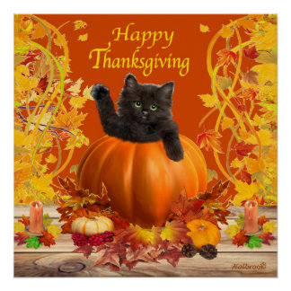 Thanksgiving Kitty Poster