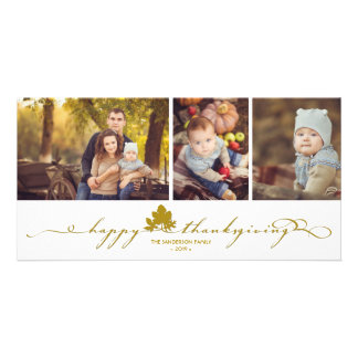 Thanksgiving Leaves Simple Flourish Photo Card